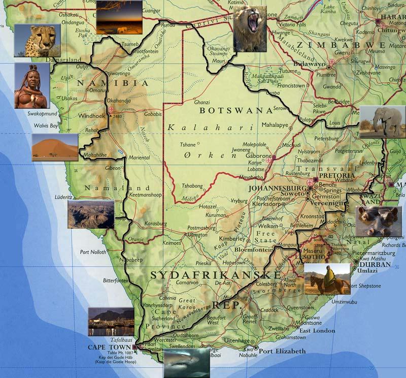 Sydlige Afrika Kort Med Rute